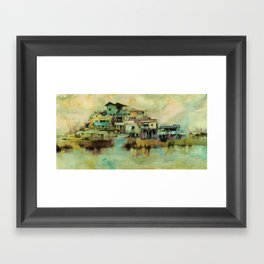 Drifting Along Tonle Sap River, Cambodia Framed Art Print