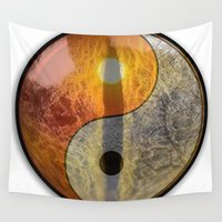 yin yang Wall Tapestries featuring yin yang by Vector Art