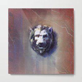 Lion Head Red Marble Metal Print