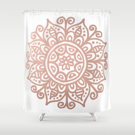 Rose Gold Floral Mandala Shower Curtain