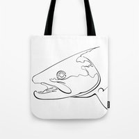 trout Tote Bags featuring trout  by Ed Hepp