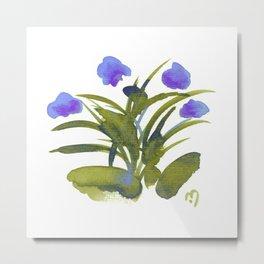 Atom Flowers #34 in purple and green Metal Print