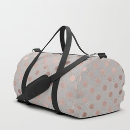 Rosegold simple pink metal foil polkadots on grey background 1 Duffle Bag
