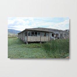Broken Down Building on a Lake Metal Print