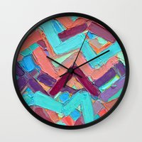 alisa burke Wall Clocks featuring Summer Paths No. 1 Original by Ann Marie Coolick