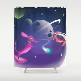 Interstellar Atomic Space Dachshunds Playing Fetch Shower Curtain