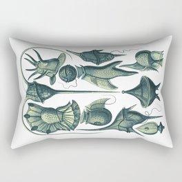 Ernst Haeckel Peridinea Plankton Algae Teal Rectangular Pillow
