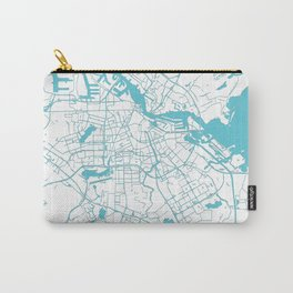 Amsterdam White on Turquoise Street Map Carry-All Pouch