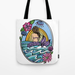Sunrise Mermaid Girl Tote Bag