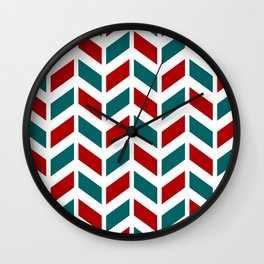 Red, teal and white chevron pattern Wall Clock