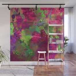 Fusion In Pink And Green Wall Mural