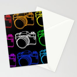 White on Black Camera Stationery Cards