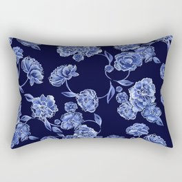 Porcelain Floral Rectangular Pillow