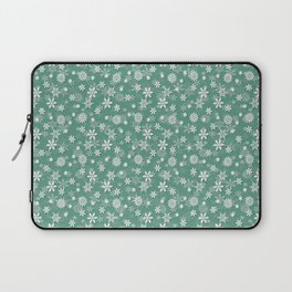Christmas Green Holly and Ivy Snow Flakes Laptop Sleeve