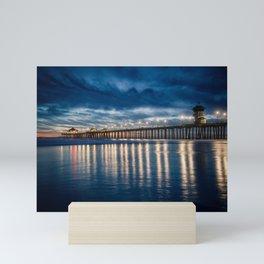 Huntington Beach Pier Sunset Blues  1-29-18 Mini Art Print