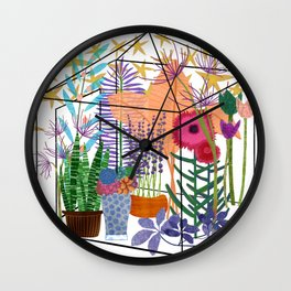 Garden Flowers Greenhouse Wall Clock