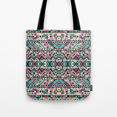Pink Turquoise Girly Aztec Andes Tribal Pattern Tote Bag