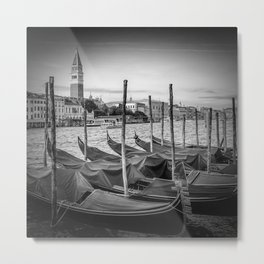 VENICE Grand Canal and St Mark's Campanile | Monochrome Metal Print