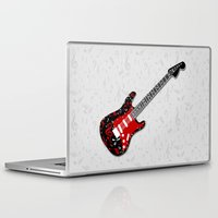 music notes Laptop & iPad Skins featuring Music Notes Electric Guitar by GBC Design