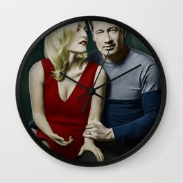 Gillian Anderson and David Duchovny painting Wall Clock