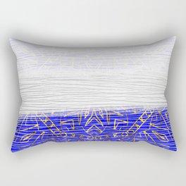 385 Blue Gold White Abstract Mandala Rectangular Pillow