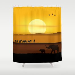 Morning in the African savannah Shower Curtain