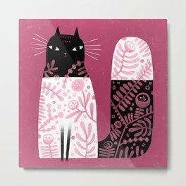 DECORATED CAT Metal Print