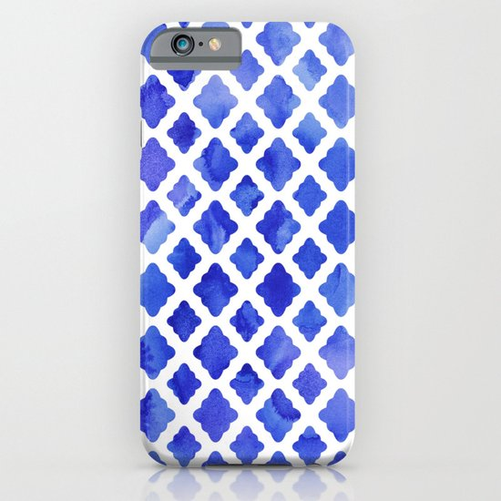 Watercolor Diamonds in Cobalt Blue iPhone & iPod Case