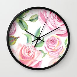 Roses Water Collage Wall Clock