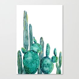 cactus jungle watercolor painting Canvas Print