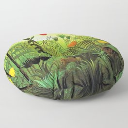 Exotic Jungle Landscape with Lion and Lioness by Henri Rousseau Floor Pillow
