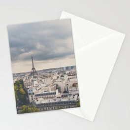 the Eiffel Tower in Paris on a stormy day. Stationery Cards