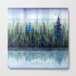Nature Reflected Plaid Pine Forest Metal Print