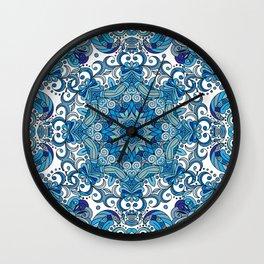 Blue Boho Mandela Pattern Wall Clock