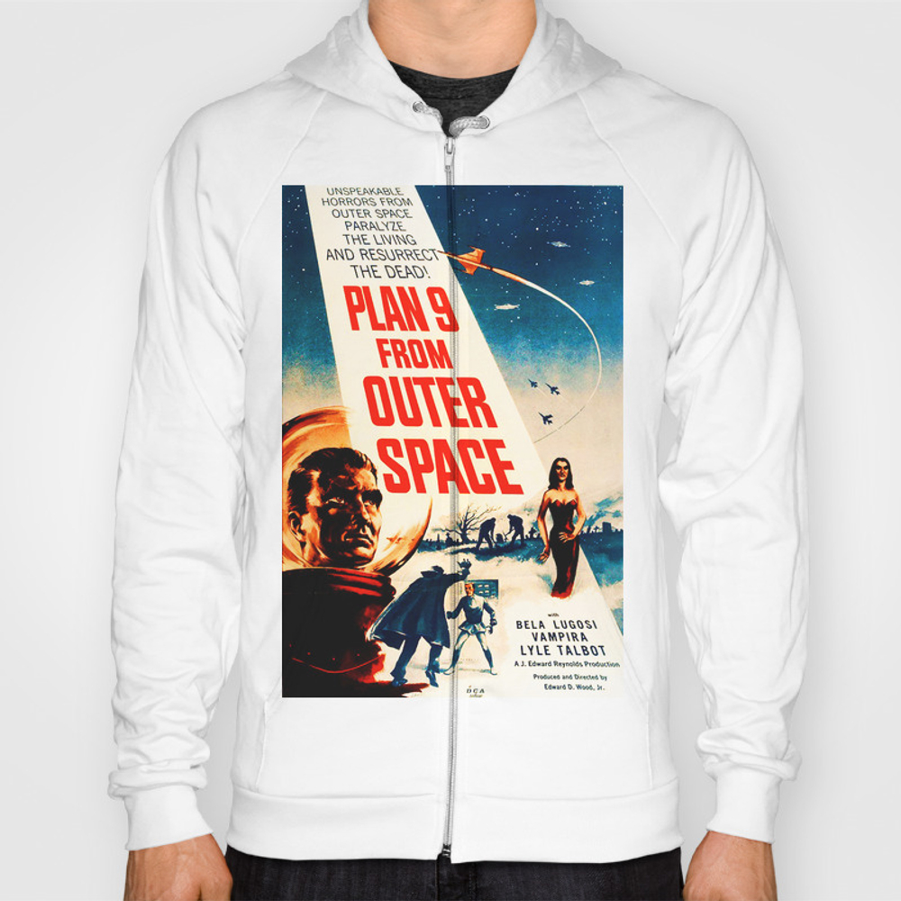Plan 9 From Outer Space, Vintage Movie Poster Hoody by Alma_design SSR7728536