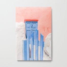 491P. Blue Wood Door, Santorini, Greece Metal Print