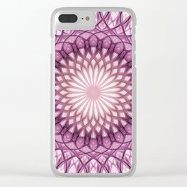 Pretty delicate pink and brown mandala Clear iPhone Case