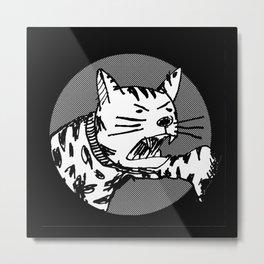 THUMBS-DOWN CAT Metal Print