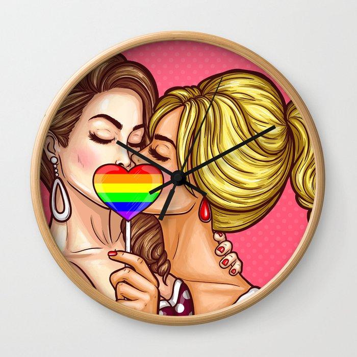 Pop Art Lesbians Wall Clock