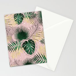 Modern gold tropical leaves and doddles design Stationery Cards