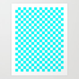 Small Checkered - White and Aqua Cyan Art Print