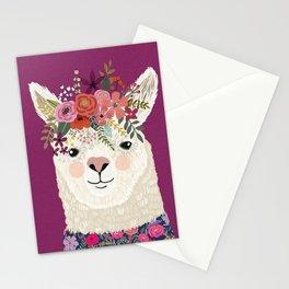 Alpaca with flowers on head. Purple Stationery Cards