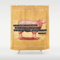 scripture Shower Curtains featuring Like Sheep by Peter Gross