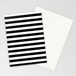 Black and White Horizontal Strips Stationery Cards