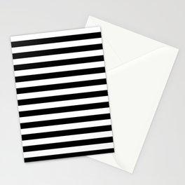 Black and White Horizontal Strips   Classic Cabana Stripe Stationery Cards