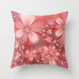 Pink Floral Pattern Throw Pillow