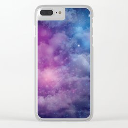 Pink and Blue Nebula Clear iPhone Case