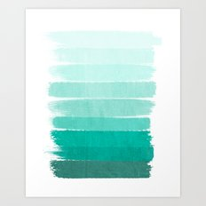 Ombre - Brushstroke Green/Blue Ocean Ombre, girly trend, dorm decor, cell phone, beach, summer,  Art Print