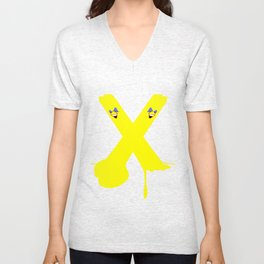 Yellow Stripe Bomb Ball and Stroke Unisex V-Neck