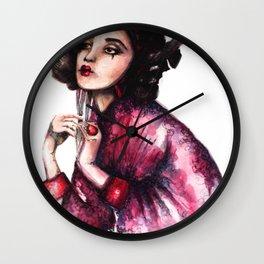 Geisha Girl // Fashion Illustration Wall Clock